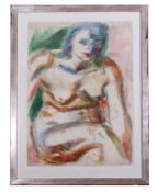 George Hooper, Seated Nude , Pen, ink and watercolour, signed, 33.5 x 22.5ins.