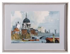 Edward Wesson, The Thames at Blackfriars Bridge with St Pauls Beyond , Pen, ink and watercolour,