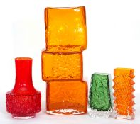 Collection of Whitefriars type art glass including a drunken bricklayers vase in orange, a further