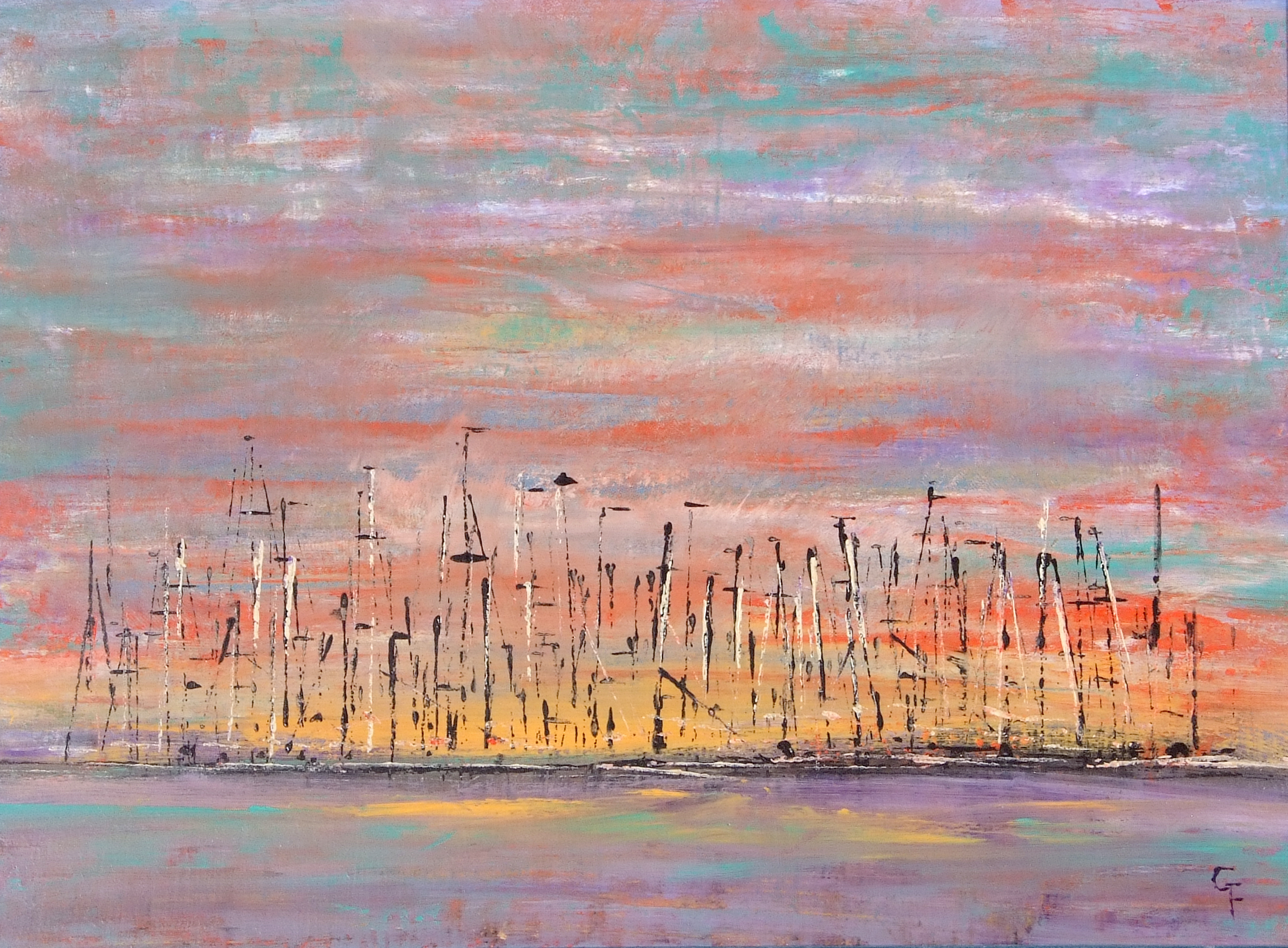 Gloria French, Contemporary, Marina in the Evening, indistinctly signed, dated verso, Oil on canvas - Image 2 of 2