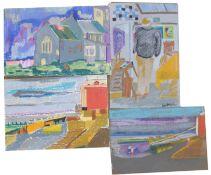 Derek Inwood, British, mid-late 20th century, five untitled landscape and interior scenes, Pastel on