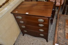 19TH CENTURY MAHOGANY FOUR DRAWER CHEST WITH OVAL BRASS PLATE HANDLES, 63CM WIDE X 71CM WIDE