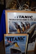 TITANIC INTEREST, A RANGE OF MODERN FRAMED PRINTS AND METAL WALL PLAQUE (4)