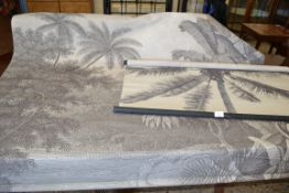 TWO MODERN FABRIC PANELS DECORATED WITH PALM TREES