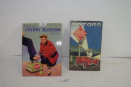 VINTAGE CHERRY BLOSSOM BOOT POLISH SHOW CARD AND A FURTHER SHOW CARD ADVERTISING MANN EGERTON,
