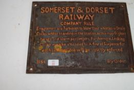 """CAST IRON PLAQUE MARKED """"SOMERSET AND DORSET RAILWAY"""""""