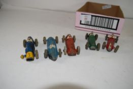 COLLECTION OF FIVE VINTAGE DINKY RACING CARS MODEL NOS 23H, 233, 232, 231 AND 230