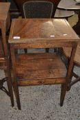19TH CENTURY MAHOGANY RECTANGULAR TWO TIER TABLE WITH SINGLE FRIEZE DRAWER LATER CONVERTED FROM A