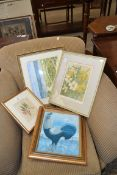 FOUR VARIOUS FRAMED PICTURES TO INCLUDE BOTANICAL STUDIES, COCKEREL, WATERCOLOUR BEACH SCENE