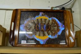 EARLY 20TH CENTURY SERVING TRAY INSET WITH BUTTERFLY WINGS