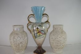 MIXED LOT COMPRISING 20TH CENTURY PLASTER DECORATED VASES, MODERN LUSTRE VASE