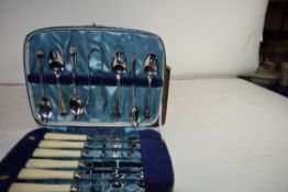 THREE CASES CONTAINING SILVER PLATED TEASPOONS, CAKE KNIVES, FORKS ETC