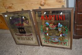 """TWO 20TH CENTURY PUB MIRRORS MARKED """"MARTINI"""" AND """"CHIVAS REGAL SCOTCH WHISKY"""", 65CM HIGH (2)"""