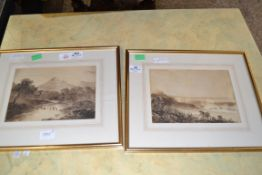 FRAMED WATERCOLOUR OF A LANDSCAPE AND A FURTHER LANDSCAPE, EACH APPROX 16 X 24CM