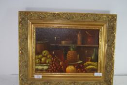 STILL LIFE FRUIT AND VARIOUS KITCHEN UTENSILS, SIGNED, OIL ON BOARD 34 X 24CM INSET