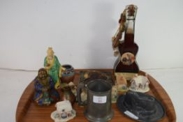 TRAY OF MIXED WARES TO INCLUDE MODERN RELIGIOUS ICON, LILLIPUT LANE COTTAGES, PEWTER HAT FORMED