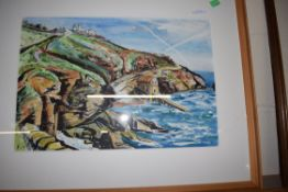 LAURANC, WATERCOLOUR AND INK STUDY, COASTAL SCENE, 53 X 37CM, FRAMED AND GLAZED