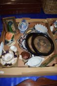 BOX OF MIXED WARES TO INCLUDE REPRODUCTION PAINTED RELIGIOUS ICON TYPE PICTURE, A COALPORT FLORAL