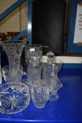 MIXED LOT: VARIOUS CUT GLASS WARES TO INCLUDE LARGE VASES, BOWLS, TABLE BELL, SPIRIT DECANTERS ETC