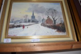 MARCUS FORD, STUDY OF A VILLAGE WINTER SCENE WITH DISTANT CHURCH, OIL ON BOARD, SIGNED LOWER LEFT, 4
