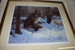 JOHN TRICKETT, COLOURED PRINT, FOX IN SNOW, LTD ED 464/850, SIGNED IN PENCIL LOWER RIGHT, FRAMED AND