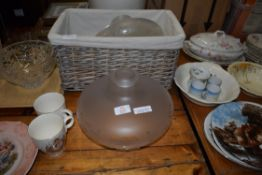 MIXED LOT: TWO FROSTED GLASS LIGHT SHADES AND A WICKER BASKET