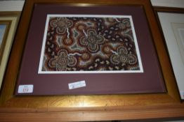 MODERN PRINT OF AN ABORIGINAL DOT PAINTING, FRAMED AND GLAZED