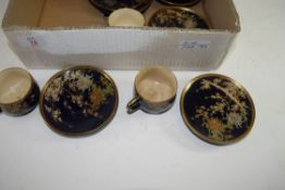EARLY 20TH CENTURY JAPANESE TEA CUPS AND SAUCERS DECORATED WITH CHRYSANTHEMUM FLOWERS