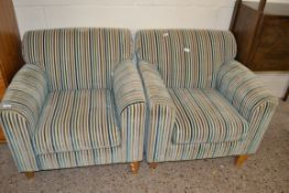 PAIR OF STRIPED UPHOLSTERED FIRESIDE CHAIRS, EACH WIDTH APPROX 80CM