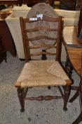 EARLY 20TH CENTURY RUSH SEAT LADDERBACK CHAIR, HEIGHT APPROX 94CM
