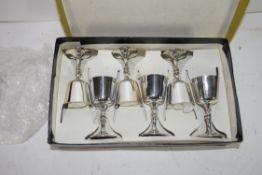 CASE OF SIX SMALL SILVER PLATED GOBLETS