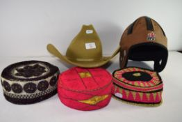 MIXED LOT: SMITHBILT WIDE BRIMMED GENTS HAT TOGETHER WITH A FURTHER AMERICAN FOOTBALL HEAD PROTECTOR