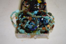 BOX CONTAINING VARIOUS BEADED NECKLACES