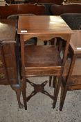 19TH CENTURY MAHOGANY SQUARE FORMED TWO TIER BEDSIDE TABLE CONVERTED FROM A WASH STAND WITH SINGLE