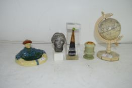 MIXED LOT: COMPOSITION MINIATURE GLOBE, A BP PAPERWEIGHT FILLED WITH CRUDE OIL, A REPRODUCTION