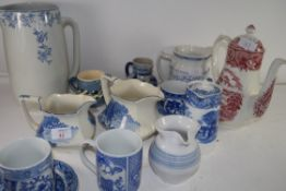 MIXED LOT: VARIOUS BLUE AND WHITE CHINA WARES, BARRETTS COFFEE POT ETC