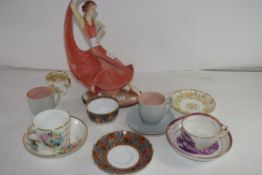 ART DECO STYLE PLASTERWORK FIGURE TOGETHER WITH A COLLECTION OF VARIOUS MIXED TEA WARES