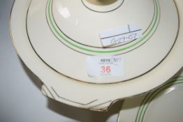 QTY OF ALFRED MEAKIN GILT LINED DINNER WARES INCLUDING TUREENS, PLATES ETC