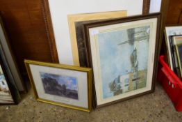 MIXED LOT: ASSORTED PICTURES COMPRISING TWO 19TH CENTURY COLOURED PRINTS OF SOCIETY LADIES, SIGNED