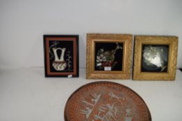MIXED LOT: CAIRO WARE COPPER AND WHITE METAL TRAY DECORATED WITH SCENES FROM ANCIENT EGYPT, TOGETHER