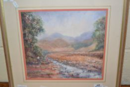 FRAMED PASTEL SIGNED JO WATERS, TITLED VERSO MOUNTAIN STREAM, APPROX 30 X 33CM