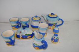 MIXED LOT: MODERN LIGHTHOUSE DECORATED TABLE WARES