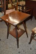SMALL EDWARDIAN MAHOGANY TWO TIER TABLE ON TURNED LEGS, 63CM HIGH