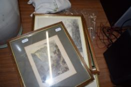 MIXED LOT: FRAMED COLOURED PRINTS TO INCLUDE L GREY ARTISTS PROOF STUDY OF DOVES PLUS VARIOUS