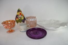 GLASS AND CERAMICS TO INCLUDE CARNIVAL GLASS AND CERAMIC FRUIT
