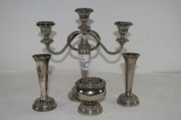 CANDELABRA AND VARIOUS OTHER SILVER PLATED ITEMS