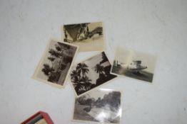 BOX OF VARIOUS POSTCARDS AND BLACK AND WHITE PHOTOGRAPHS TO INCLUDE SHIPPING AND SUEZ CANAL
