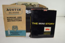 BOX CONTAINING QTY OF VARIOUS TRANSPORT INTEREST BOOKS INCLUDING RAC GUIDE BOOKS, MINI TUNING