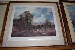 JOHN TRICKETT, COLOURED PRINT, HEAVY HORSES MOVING A TREE TRUNK, LTD ED 317/850, IMAGE SIZE 47 X