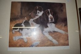 JOHN TRICKETT, COLOURED PRINT, SPANIEL WITH PUPPIES, LTD ED 297/850, SIGNED IN PENCIL LOWER RIGHT,